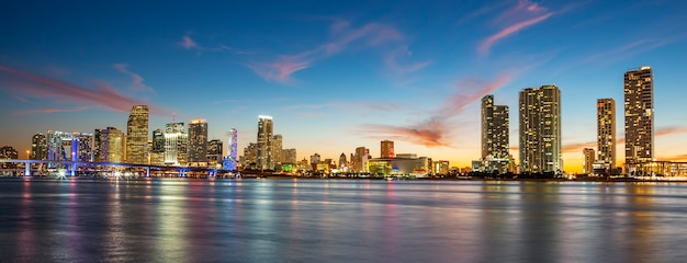Sunset with business and residential buildings, miami, panoramic view