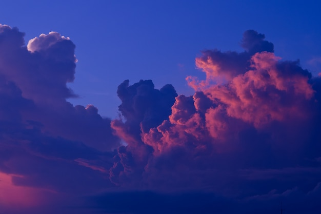 Sunset with clouds background, summer time, beautiful sky