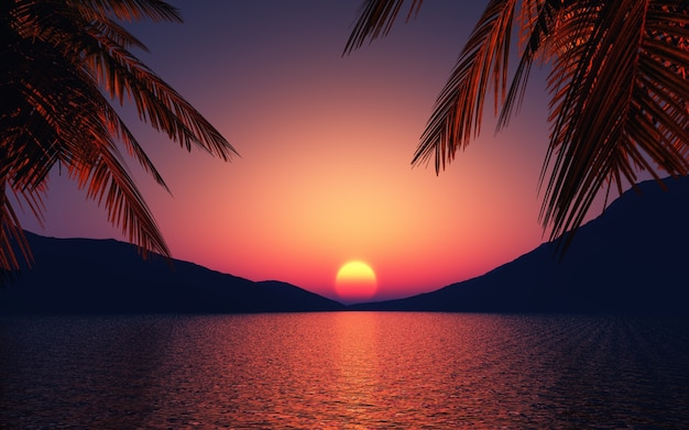 Sunset with palm trees and a lake