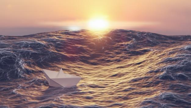 바다, 리더십 및 비즈니스 개념, 3d 그림 렌더링에서 종이 보트 싸움 파도와 일몰