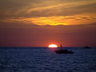 Sunsets on lake michigan, eve