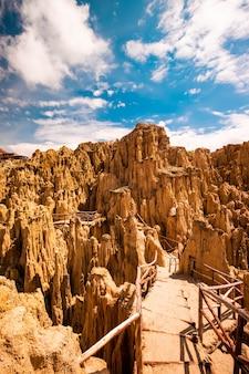 볼리비아의 라파스 근처 바위 문 계곡 풍경의 햇살 보기