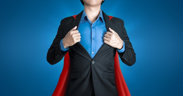Super business man wears black suits and red robes