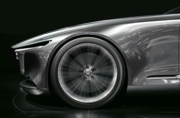 Super car wheel drifting on track