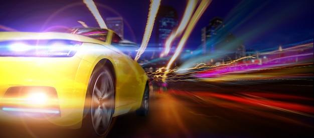 Супер автомобиль с движущимся освещением в городе