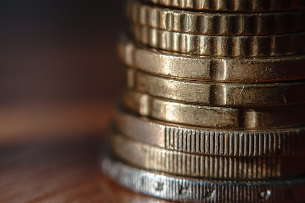 Super closeup stack of eu coins selective focus