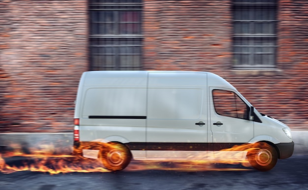 Super fast delivery of package service. van with wheels on fire on the road