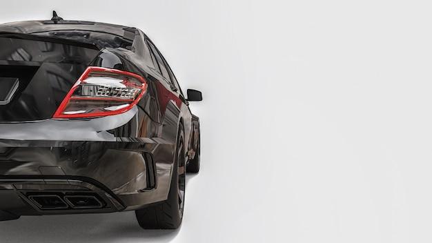 흰색 바탕에 초고속 스포츠카 블랙 색상. 체형의 세단. 튜닝은 일반 가족용 자동차의 버전입니다. 3d 렌더링