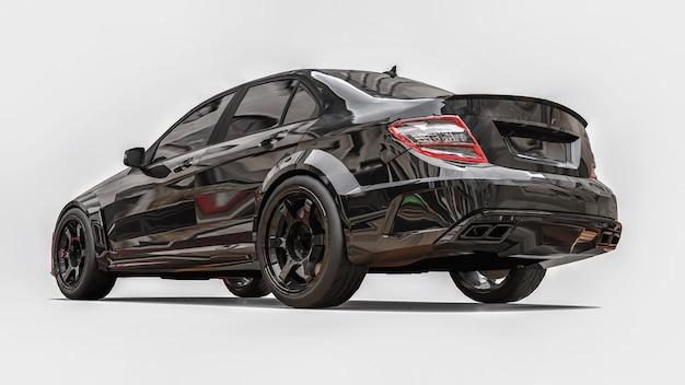 흰색 바탕에 초고속 스포츠카 블랙 색상. 체형의 세단. 튜닝은 일반 가족용 자동차의 버전입니다. 3d 렌더링.