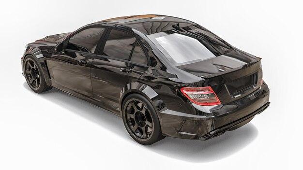 흰색 바탕에 초고속 스포츠카 블랙 색상. 체형 세단. 튜닝은 일반 가족용 자동차의 버전입니다. 3d 렌더링.