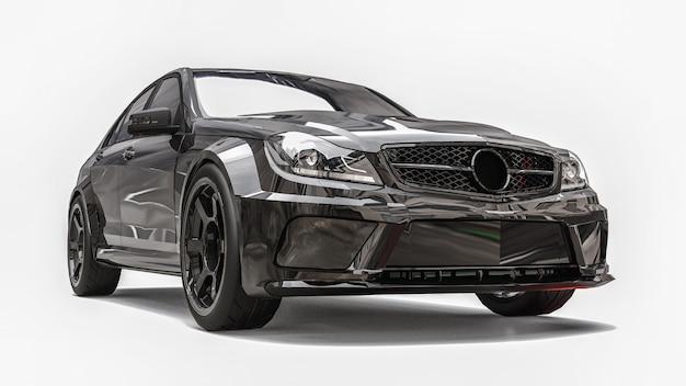 Супер быстрый спортивный автомобиль черного цвета на белом фоне. форма кузова седан. тюнинг - это вариант обычного семейного автомобиля. 3d-рендеринг.