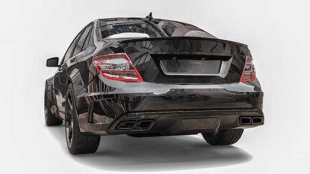 Сверхбыстрый спорткар черного цвета на белом фоне форма кузова седан