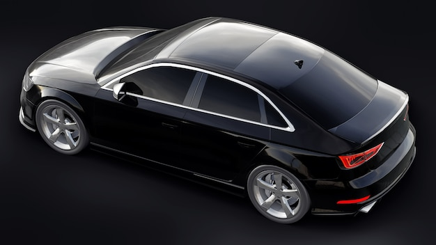 초고속 스포츠카 색상은 검정색 배경에 검정색 금속입니다. 체형의 세단. 튜닝은 일반 가족용 자동차의 버전입니다. 3d 렌더링.