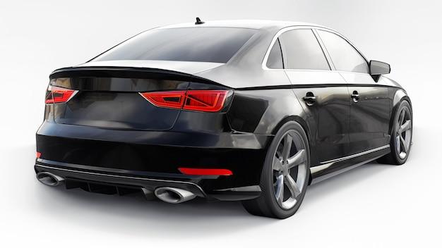 Супер быстрый спортивный автомобиль цвета черный металлик на белом фоне