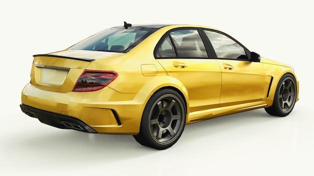 白地にメタリックな超高速スポーツカーカラーゴールド。ボディシェイプセダン。チューニングは普通のファミリーカーのバージョンです。 3dレンダリング。
