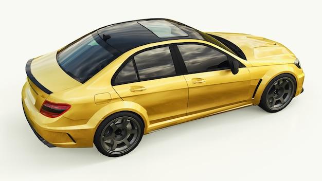 흰색 바탕에 초고속 스포츠카 색상 골드 메탈릭. 체형의 세단. 튜닝은 일반 가족용 자동차의 버전입니다. 3d 렌더링.