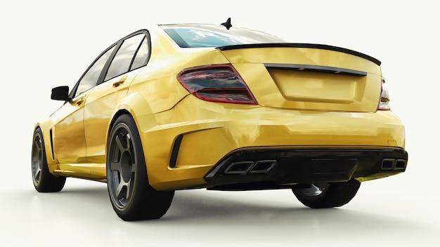 흰색 바탕에 초고속 스포츠카 색상 골드 메탈릭. 체형 세단. 튜닝은 일반 가족용 자동차의 버전입니다. 3d 렌더링.