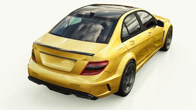 Сверхбыстрый спорткар цвета золотой металлик на белом фоне форма кузова седан