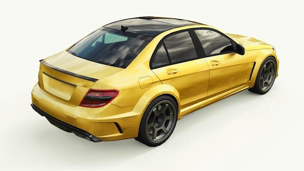 白い表面にゴールドメタリックの超高速スポーツカーカラー