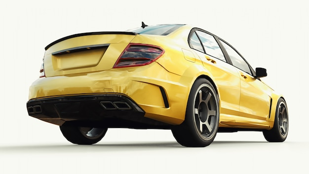 Super fast sports car color gold metallic on white