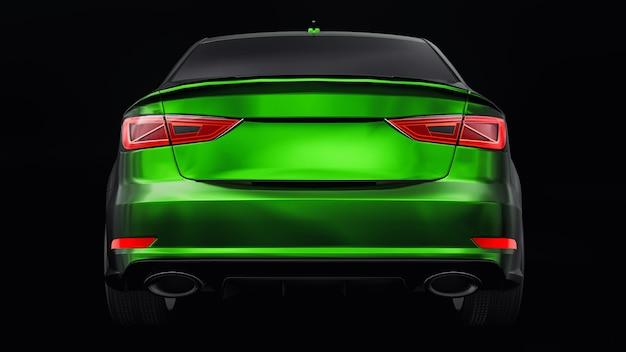 검정색 배경에 초고속 스포츠카 색상 녹색 금속. 체형의 세단. 튜닝은 일반 가족용 자동차의 버전입니다. 3d 렌더링.