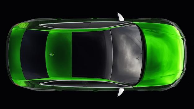 흰색 바탕에 초고속 스포츠카 색상입니다. 체형의 세단. 튜닝은 일반 가족용 자동차의 버전입니다. 3d 그림입니다.