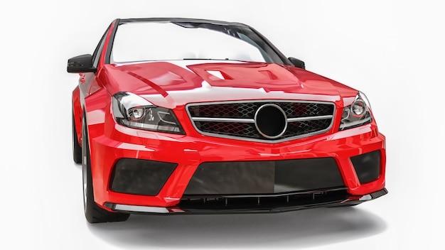 초고속 스포츠카 색상은 흰색 바탕에 빨간색 금속입니다. 체형의 세단. 튜닝은 일반 가족용 자동차의 버전입니다. 3d 렌더링.
