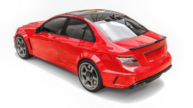 초고속 스포츠카 색상은 흰색 바탕에 빨간색 금속입니다. 체형 세단. 튜닝은 일반 가족용 자동차의 버전입니다. 3d 렌더링.