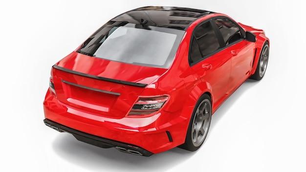 Супер быстрый спортивный автомобиль цвета красный металлик на белом фоне. форма кузова седан. тюнинг - это вариант обычного семейного автомобиля. 3d-рендеринг.