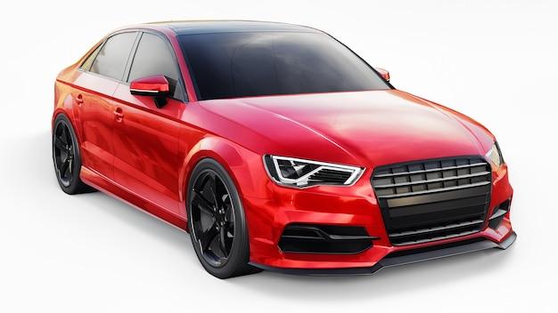 Супер быстрый спортивный автомобиль цвета красный металлик на белой поверхности