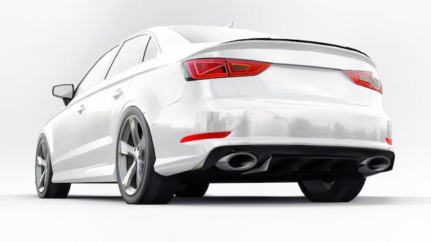 흰색 바탕에 초고속 스포츠카 흰색 색상입니다. 체형의 세단. 튜닝은 일반 가족용 자동차의 버전입니다. 3d 렌더링.