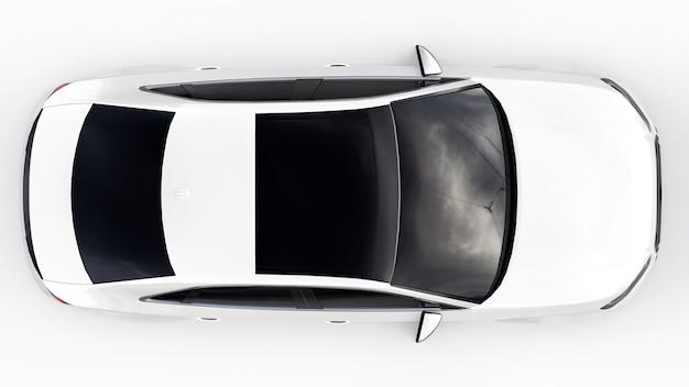 Супер быстрый спортивный автомобиль белого цвета на белом фоне. форма кузова седан. тюнинг - это вариант обычного семейного автомобиля. 3d-рендеринг.