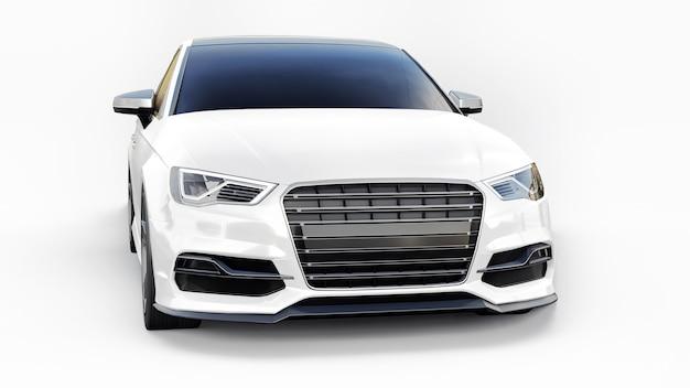 흰색 바탕에 초고속 스포츠카 흰색 색상입니다. 체형 세단. 튜닝은 일반 가족용 자동차의 버전입니다. 3d 렌더링.