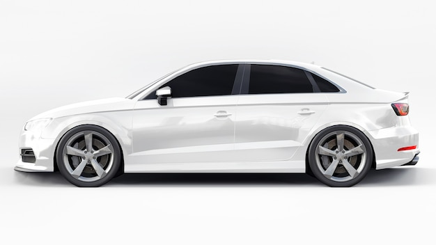 Super fast sports car white color on a white background. body shape sedan. tuning is a version of an ordinary family car. 3d rendering.