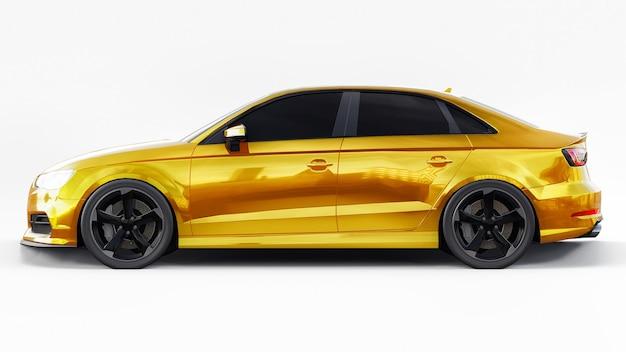Супер быстрый спортивный автомобиль желтого цвета на белом фоне форма кузова seda n