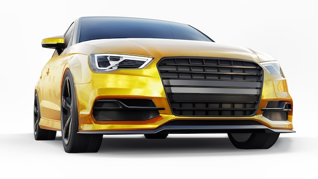 흰색 바탕에 초고속 스포츠카 노란색. 체형 세단. 튜닝은 일반 가족용 자동차의 버전입니다. 3d 그림입니다.