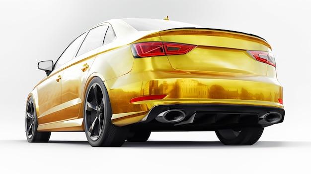 흰색 바탕에 초고속 스포츠카 노란색. 체형 세단. 튜닝은 일반 가족용 자동차의 버전입니다. 3d 그림입니다. 프리미엄 사진