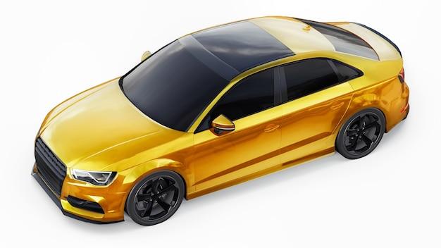 Супер быстрый спортивный автомобиль желтого цвета на белом фоне. форма кузова седан. тюнинг - это вариант обычного семейного автомобиля. 3d иллюстрации.