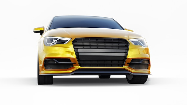 흰색 바탕에 초고속 스포츠카 노란색. 체형의 세단. 튜닝은 일반 가족용 자동차의 버전입니다. 3d 그림입니다.