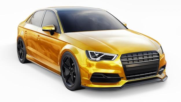 Сверхбыстрый спортивный автомобиль желтого цвета на белом фоне форма кузова седан