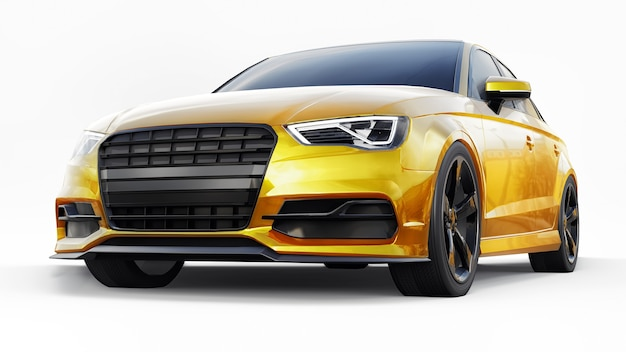 Super fast sports car yellow color on a white background body shape sedan