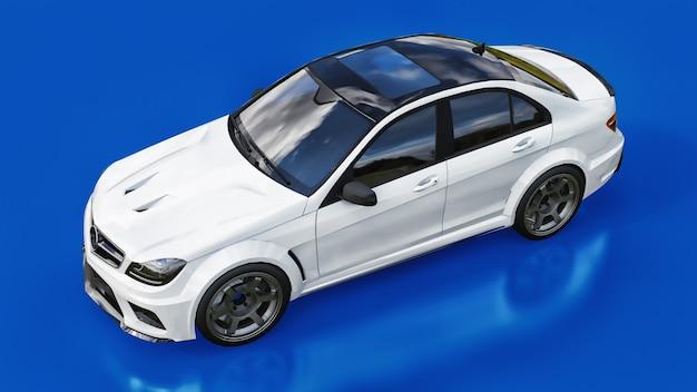 超高速の白いスポーツカーの3dレンダリング