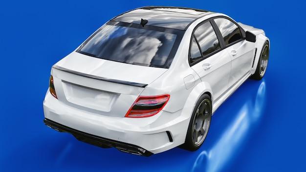 파란색 배경에 초고속 흰색 스포츠카. 체형 세단. 튜닝은 일반 가족용 자동차의 버전입니다. 3d 렌더링.