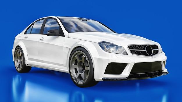 Супер быстрый белый спортивный автомобиль на синем фоне. форма кузова седан. тюнинг - это вариант обычного семейного автомобиля. 3d-рендеринг.