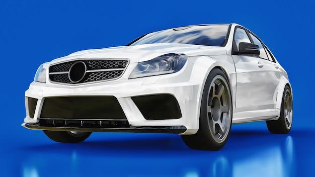 青い表面に超高速の白いスポーツカー