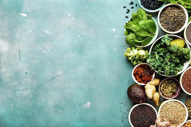 Super food vegetarian food top view copyspace
