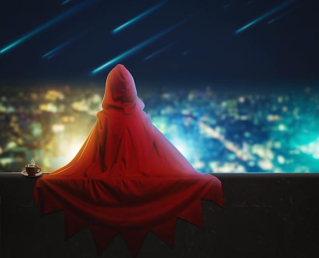 夜の街のスーパーヒーローガール