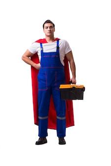 Super hero repairman isolated
