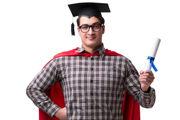 Super hero student with books isolated