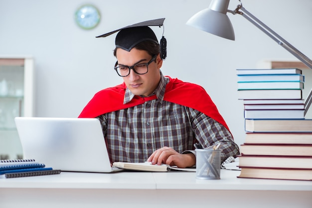 Super hero student with books studying for exams